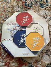 VINTAGE 1979 LACQUER WARE OCTAGON TRAY RED WITH FLOWERS JAPAN KAMENSTEIN IN BOX