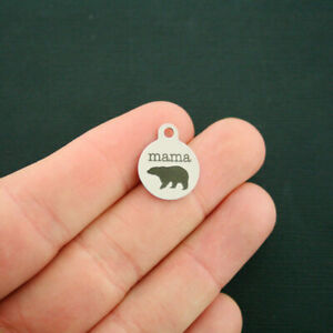 Mama Bear Stainless Steel Charms - Smaller Size - Quantity Options - BFS1689