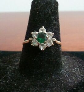 Pretty 9 ct Yellow Gold Diamond and Emerald Daisy Ring Size M London 1980