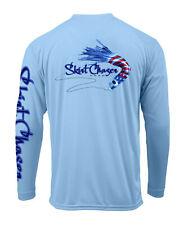 Long Sleeve Carolina Blue USA UPF 50+ Microfiber Performance Fishing Shirt