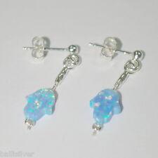 10x8mm Light Blue Opal HAMSA Fatima Hand Sterling Silver 925 Ear Post EARRINGS
