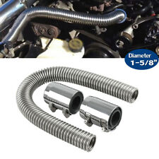 "24"" Flexible Stainless Steel Upper or Lower Radiator Hose Kit & Chrome Caps V8"