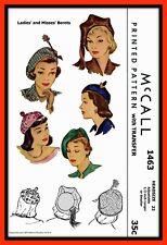"BERET Hat TAM Fascinator 21.5-22.5"" Vintage 1940's McCall 1463 Fabric Pattern"
