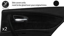 BLACK STITCH 2X REAR DOOR CARD TRIM SUEDE COVERS FITS BMW 1 SERIES E87 04-12