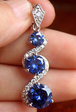 18K White Gold Filled - 10MM Navy Blue Topaz Swirl Hollow Wedding Gems Pendant