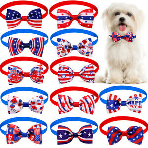 20Pcs Dog Cat Bow Tie American Independence Day Pet Neck Tie Collar Adjustable