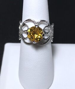 Crystal Ring Adjustable Size 4 to 9 Silver Plate Yellow Made With Swarovski