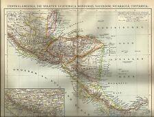 1892 CENTRALAMERIKA Guatemala Honduras Salvador Alte Landkarte Antique Map Litho