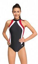 GWinner Damen Badeanzug Olivia anthrazit, weiß, rot mit Reißverschluss, Gr. 48