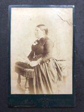 Victorian Cabinet Card: Lady: Hudson: Birmingham: Grand Woman With Fan