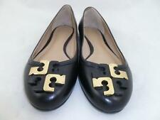 TORY BURCH LOWELL USED 6.5 M LEATHER BLACK/GOLD BALLET FLATS/SHOES
