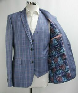 Men's Harry Brown Slim Fit 3pc Suit in Light Checked Blue (40R)..Sample 6371