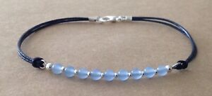 Brazilian Aquamarine, Blue Leather Cord, Silver Plated, Friendship Bracelet