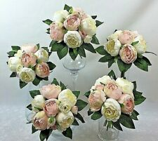 5 X Cream/Light pink peony flowers artificial silk flower wedding bouquet