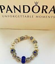 Genuine Pandora Silver Charm Bracelet With mixed charms 20cm BLUE  #A/12