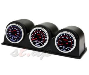 52Mm 3X Gauge Pod Holder Port Oil Pressure+Turbo Boost+Egt Led Tachometer Tach