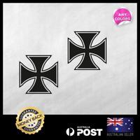 2x Small German Maltese Iron Cross 40x40mm Vinyl Sticker Decals