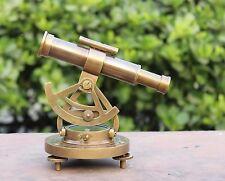 "Vintage Antique Brass Alidade Compass 6"" Telescope Military Theodolite Gift Desk"