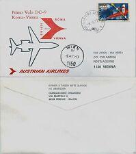 Aerogramma raccomandato volo Roma->Vienna 6.9.1971-AUSTRIAN AIRLINES DC9(810AA)