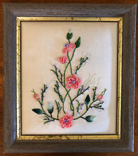 Dimensional Silk Hand Embroidery Framed on Padded Base-Simple Floral Pattern-EVC