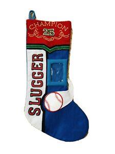 Basketball Slugger Champion 25 Blue  Picture Frame Christmas Stocking