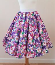1950s Circle Skirt Pink/Purple Floral Size 10 - Summer Rockabilly Pin Up Dress