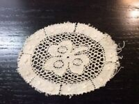 Vintage Doilie Hand Made Doily Crochet Table Lace Dresser Scarf Staging N528