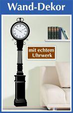 Retro-Look Wandaufkleber mit echter Uhr | Wandbild | Deko Uhr | Wohnzimmer Uhr