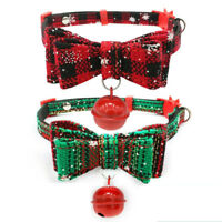 Christmas Dog Cat Collar Plaid Necktie Necklace With Bowknot Bell Pets Supplies