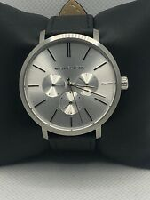 Michael Kors MK8677 Men's Black Leather Analog Silver Dial Quartz Watch KS133