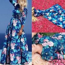 Womens Long Sleeve Boho Long Maxi Evening Party Dress Floral Elegant Sundress AU