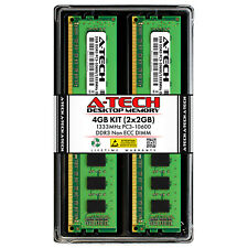 A-Tech 4GB 2 x 2GB PC3-10600 Desktop DDR3 1333 MHz 240-Pin DIMM Memory RAM 4G 2G