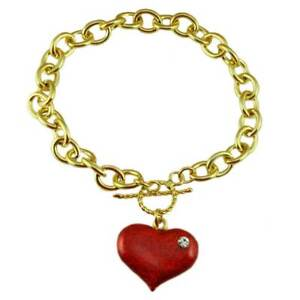Gold-tone Link Bracelet with Red Enamel and Crystal Heart Charm - PT330B