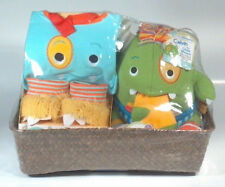 Baby Aspen Monster Boy Gift Set Basket Socks Hooded Robe Plush Slippers Bib