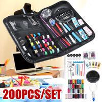 200Pcs Home Travel Sewing Kit Thread Needle Scissor Thimble PU Leather Case ~