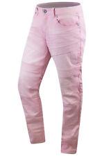 New Men Denim Jeans Skinny Fit Biker Acid Wash Colors Pink Blue Beige 30-44
