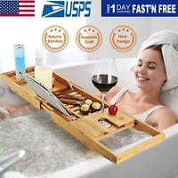 Bamboo Bath Tray Table Bathtub Caddy Tray Over the Tub Shelf Bath Holder Desk