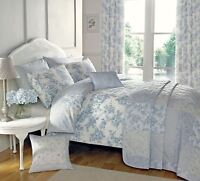 FLORAL TOILE PATCHWORK BLUE DOUBLE COTTON BLEND REVERSIBLE DUVET COVER SET