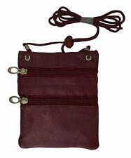 Small Leather Purse Organizer Shoulder Bag 3 Zipper Pocket Travel