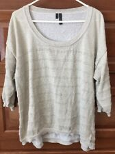 MAURICES Size 3 PLUS 3/4 Sleeve Gold Sparkle Shirt Top Blouse Women's