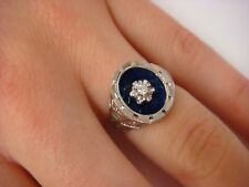 18K WHITE GOLD LADIES HANDCRAFTED RING WITH DIAMOND AND BLUE ENAMEL 5.2 GRAMS