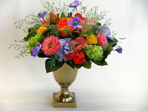 Strauß Blumen Seidenblumen Rose Mohn Wicke Löwenzahn bunt