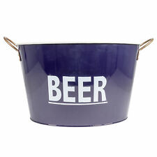 Blue Enamel Beer Cooler Bottle Can Pail Ice Bucket Storage Tin Bath Holder BBQ