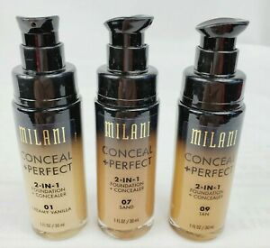 Milani Conceal + Perfect 2-in-1 Foundation Concealer 01 Vanilla, 07 Sand, 09 Tan