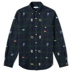 Ralph Lauren Polo Men's Green Tartan Oxford Shirt Checkered,Bulldog & Flag Print