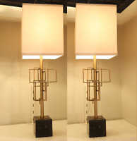 """PAIR MidCentury Modern Table Lamp Marble Brass Brutalist Buffet Console Set 30"""""""