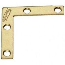 "(4) Stanley National N190-876 V117, 2""x3/8"" Flat Corner Iron Braces Brass Finish"