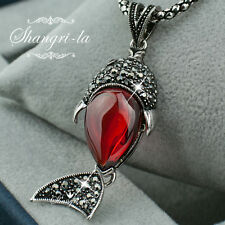 VINTAGE Style SILVER Lab RUBY FISH NECKLACE Made with SWAROVSKI CRYSTAL NY2664