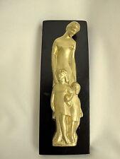 "Brass Lost Wax Cast Relief ""Mother and Children"" Wall Sculpture Fine Art"