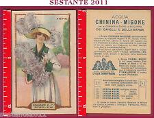 26 CARTOLINA PUBBLICITARIA ACQUA CHININA MIGONE  PROFUMIERI MILANO PIUME